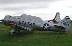 93542/LTA-542/G-BRLV North American Harvard 4 is seen here at his second home base North Weald in England