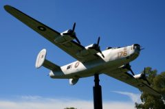 Scale B-24 Liberator on pole in Tocumwal,  Tocumwal Historic Aerodrome Museum
